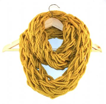 Mustard Arm Knitted Infinity Scarf